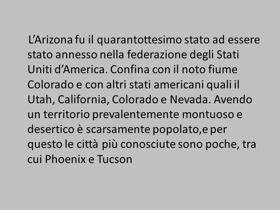 L'Arizona fu il quarantottesimo stato ad essere stato annesso nella federazione degli Stati Uniti d'America.