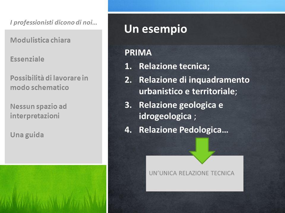 Un esempio PRIMA Relazione tecnica;