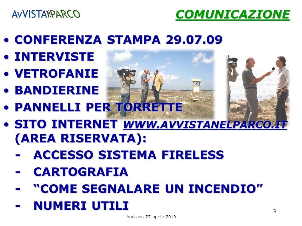 SITO INTERNET WWW.AVVISTANELPARCO.IT (AREA RISERVATA):