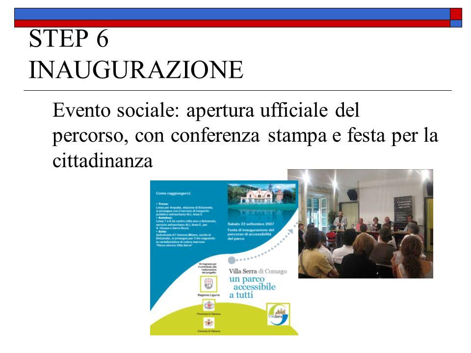 STEP 6 INAUGURAZIONE Evento sociale: apertura ufficiale del percorso, con conferenza stampa e festa per la cittadinanza.