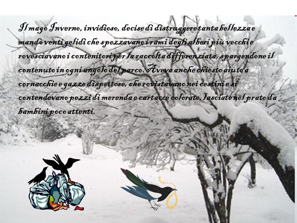 Il mago Inverno, invidioso, decise di distruggere tanta bellezza e mandò venti gelidi che spezzavano i rami degli alberi più vecchi e rovesciavano i contenitori per la raccolta differenziata, spargendone il contenuto in ogni angolo del parco.