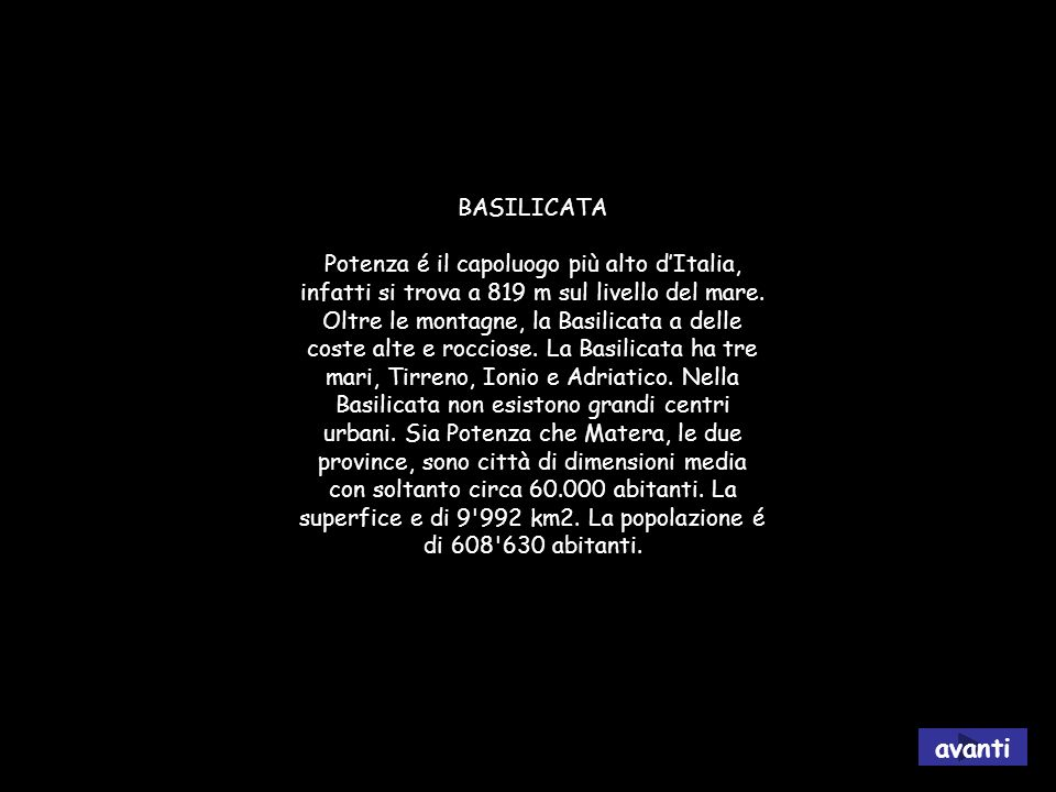 la Basilicata avanti BASILICATA