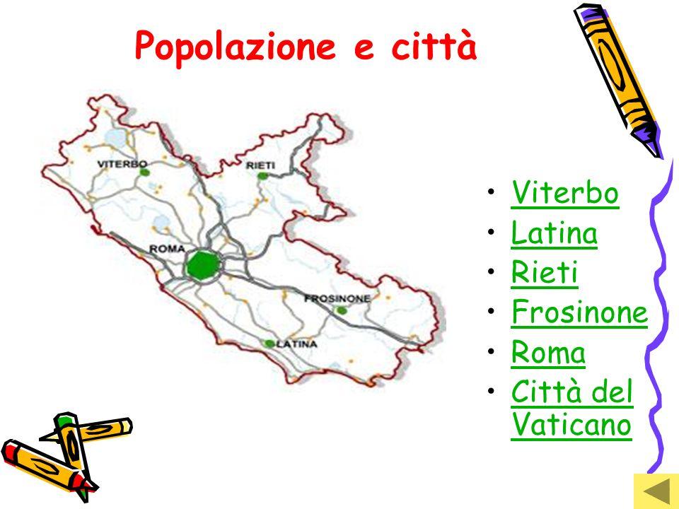 Popolazione e città Viterbo Latina Rieti Frosinone Roma