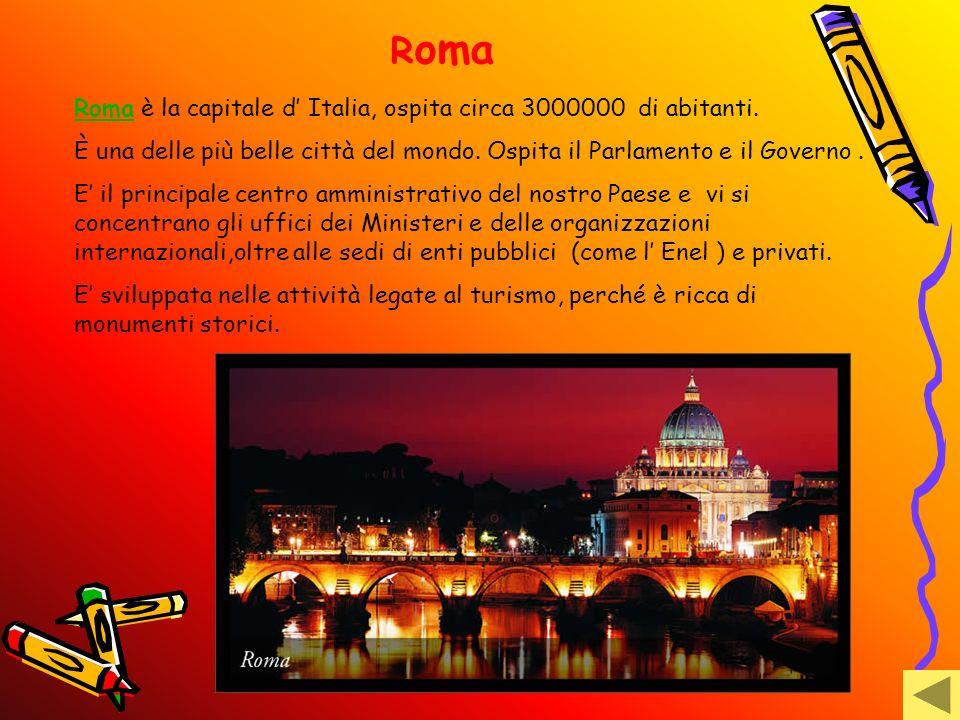 Roma Roma è la capitale d' Italia, ospita circa 3000000 di abitanti.