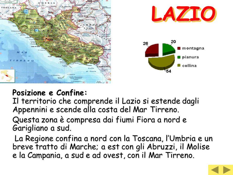 LAZIO Posizione e Confine: Il territorio che comprende il Lazio si estende dagli Appennini e scende alla costa del Mar Tirreno.