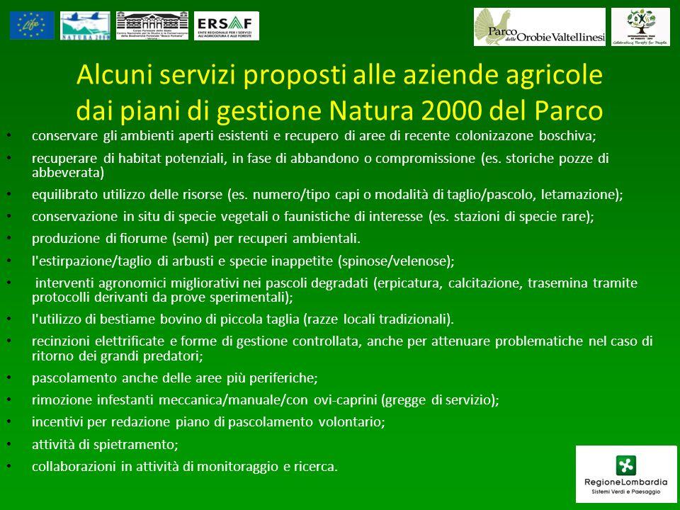 Alcuni servizi proposti alle aziende agricole dai piani di gestione Natura 2000 del Parco