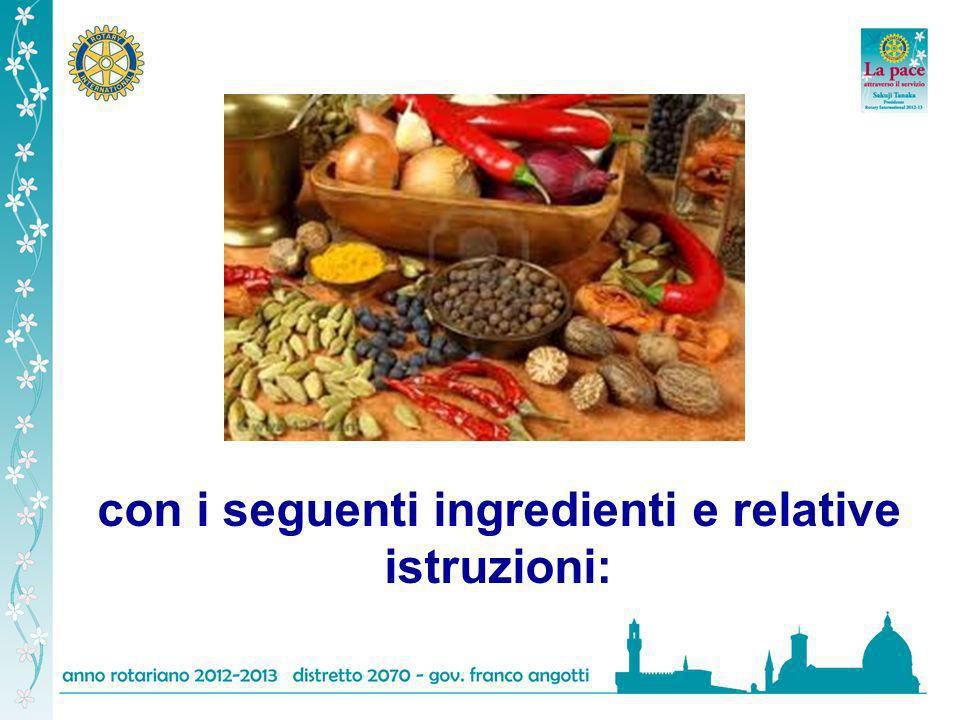 con i seguenti ingredienti e relative istruzioni: