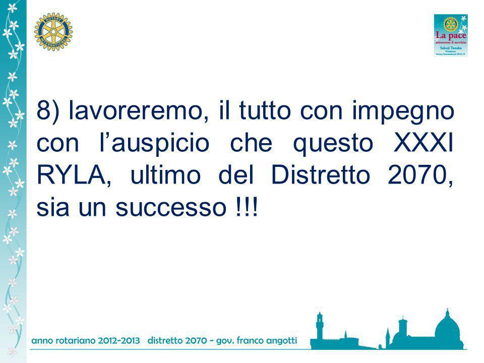8) lavoreremo, il tutto con impegno con l'auspicio che questo XXXI RYLA, ultimo del Distretto 2070, sia un successo !!!