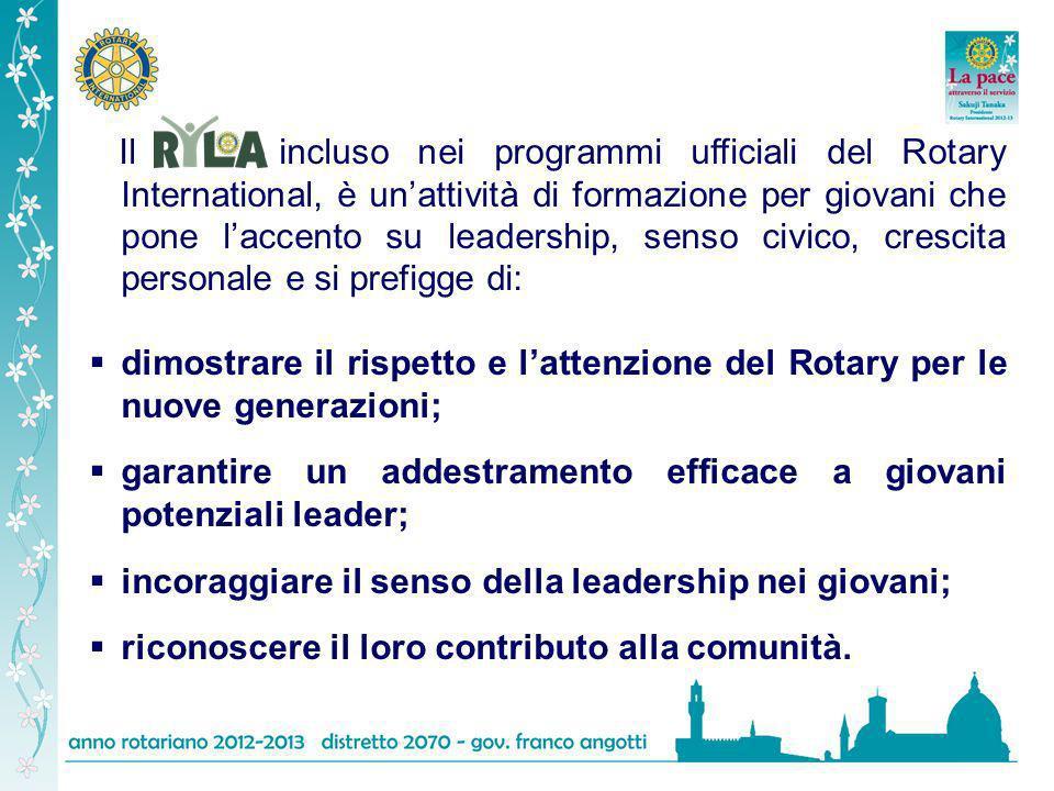 Il incluso nei programmi ufficiali del Rotary International, è un'attività di formazione per giovani che pone l'accento su leadership, senso civico, crescita personale e si prefigge di: