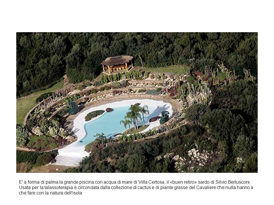 E a forma di palma la grande piscina con acqua di mare di Villa Certosa, il «buen retiro» sardo di Silvio Berlusconi.