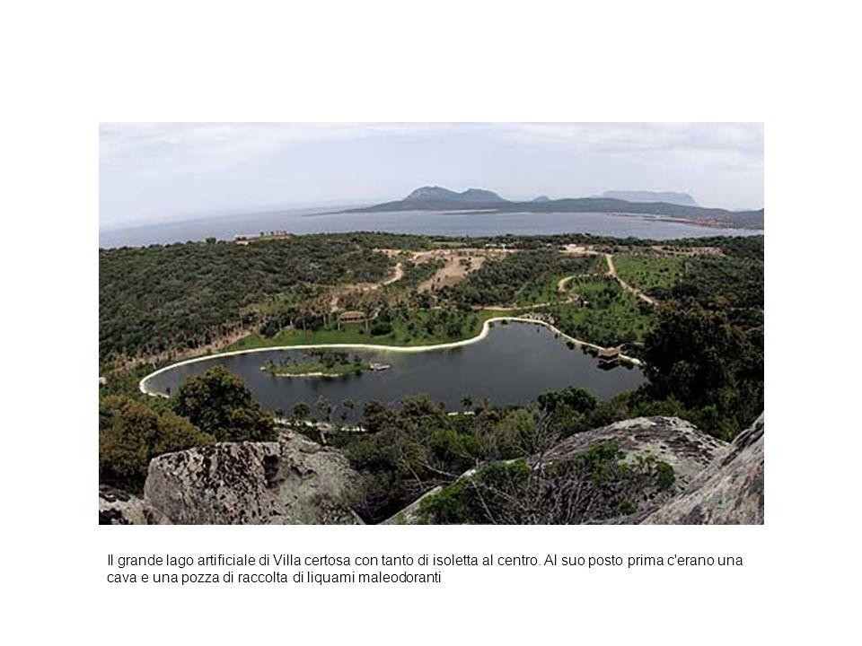 Il grande lago artificiale di Villa certosa con tanto di isoletta al centro.