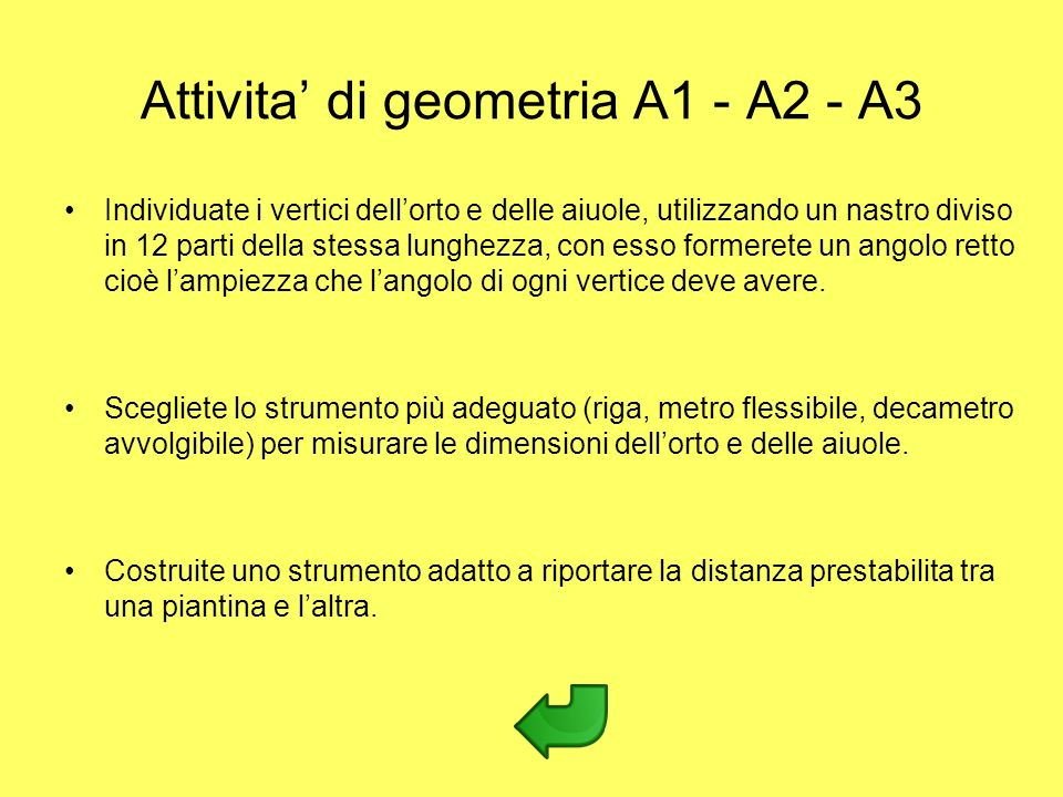 Attivita' di geometria A1 - A2 - A3