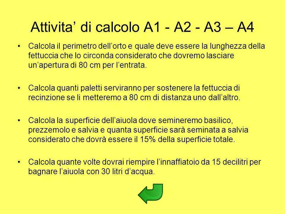 Attivita' di calcolo A1 - A2 - A3 – A4
