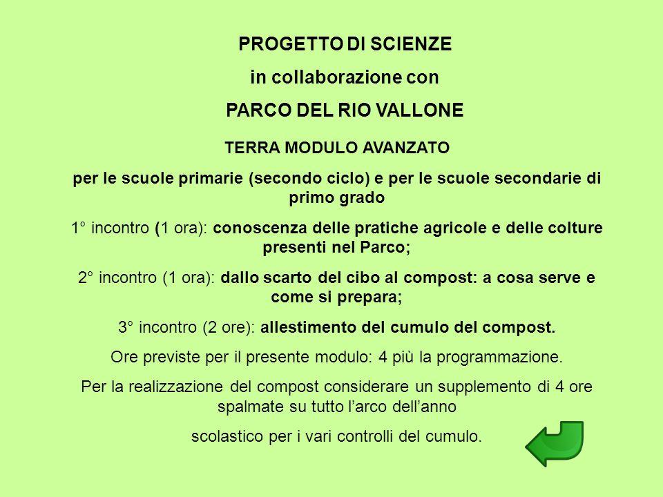 PROGETTO DI SCIENZE in collaborazione con PARCO DEL RIO VALLONE