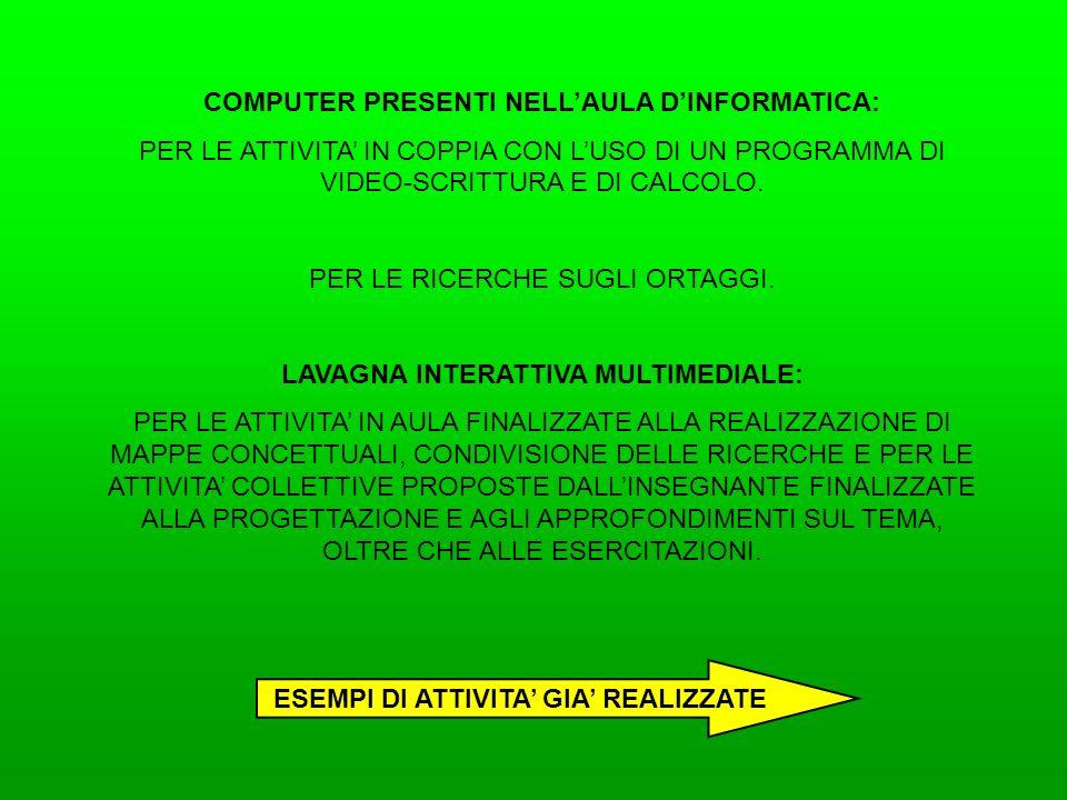 COMPUTER PRESENTI NELL'AULA D'INFORMATICA: