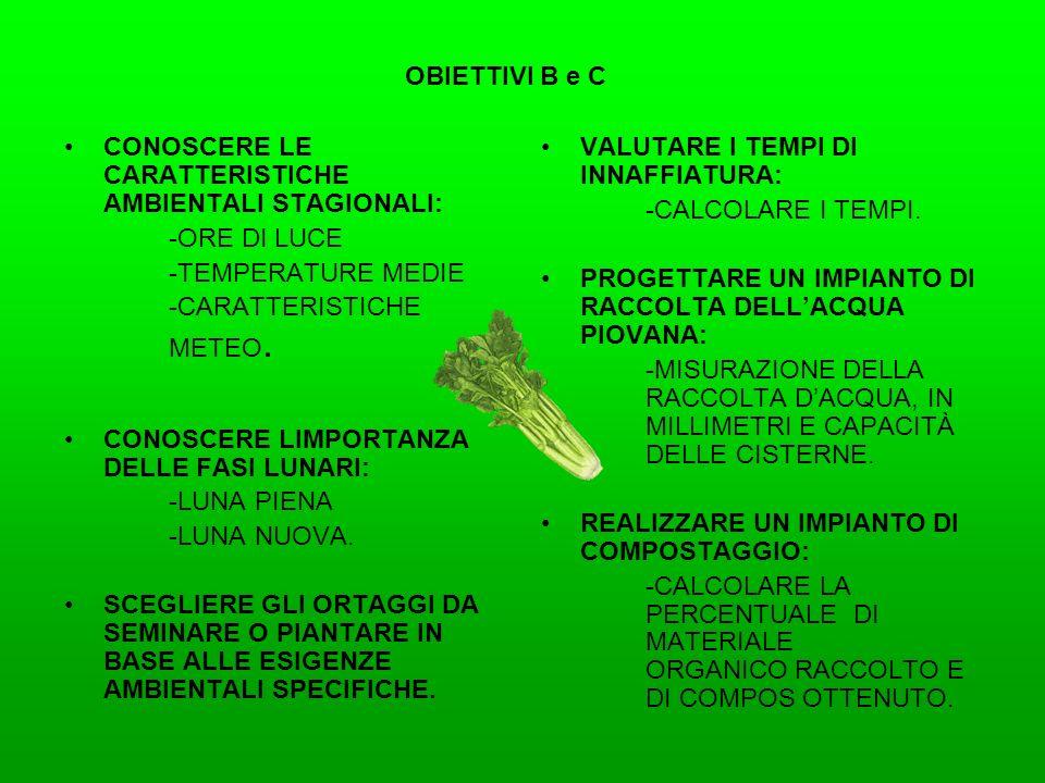OBIETTIVI B e C CONOSCERE LE CARATTERISTICHE AMBIENTALI STAGIONALI: -ORE DI LUCE. -TEMPERATURE MEDIE.