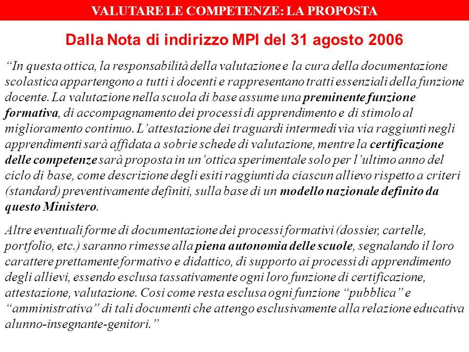 Dalla Nota di indirizzo MPI del 31 agosto 2006