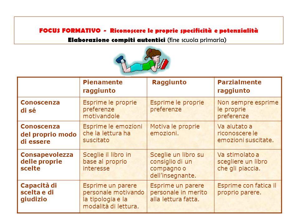 FOCUS FORMATIVO - Riconoscere le proprie specificità e potenzialità Elaborazione compiti autentici (fine scuola primaria)