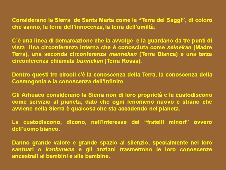 Considerano la Sierra de Santa Marta come la Terra dei Saggi , di coloro che sanno, la terra dell innocenza, la terra dell umiltà.