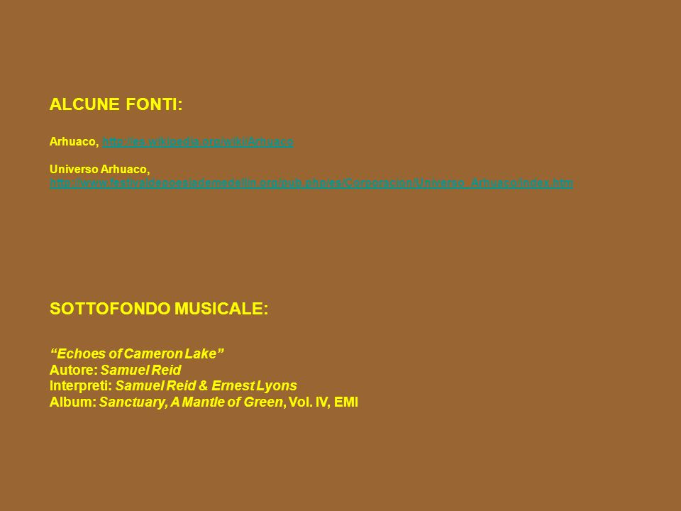 ALCUNE FONTI: SOTTOFONDO MUSICALE: Echoes of Cameron Lake