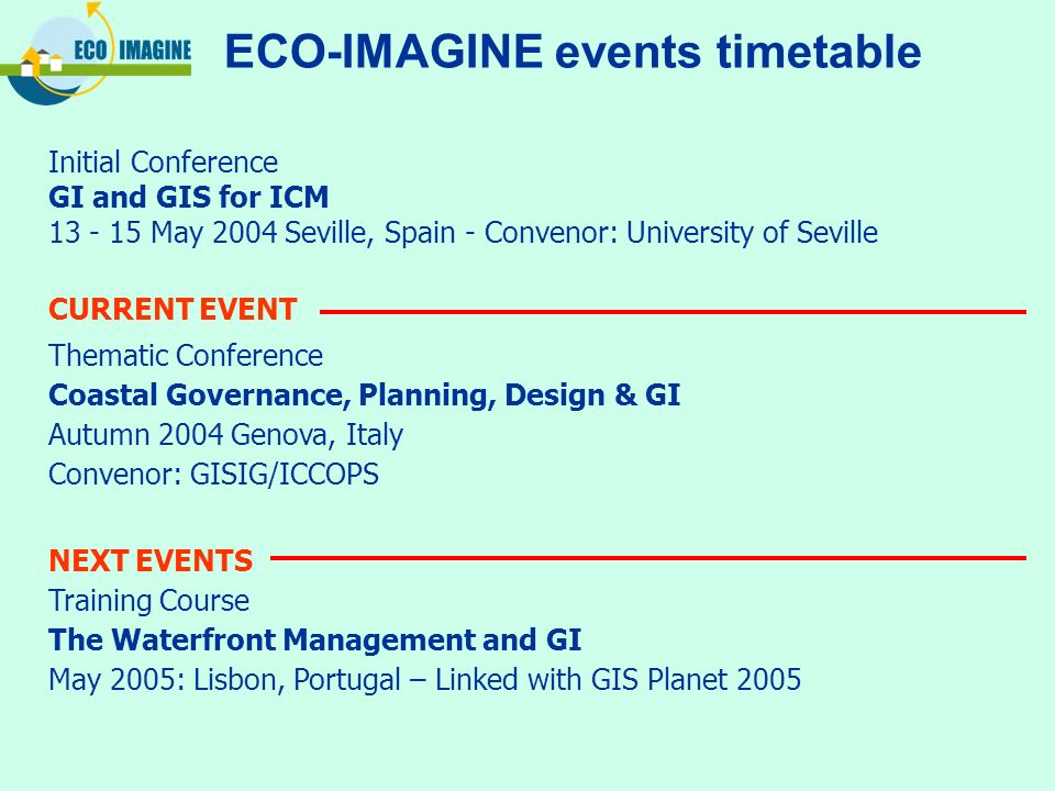ECO-IMAGINE events timetable