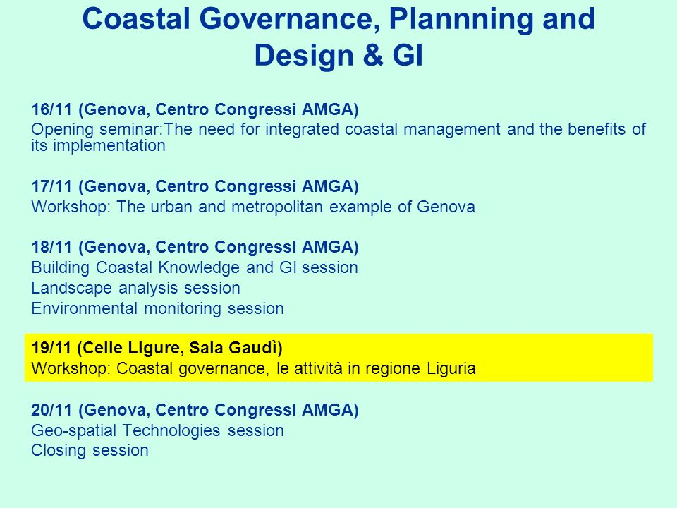 Coastal Governance, Plannning and Design & GI