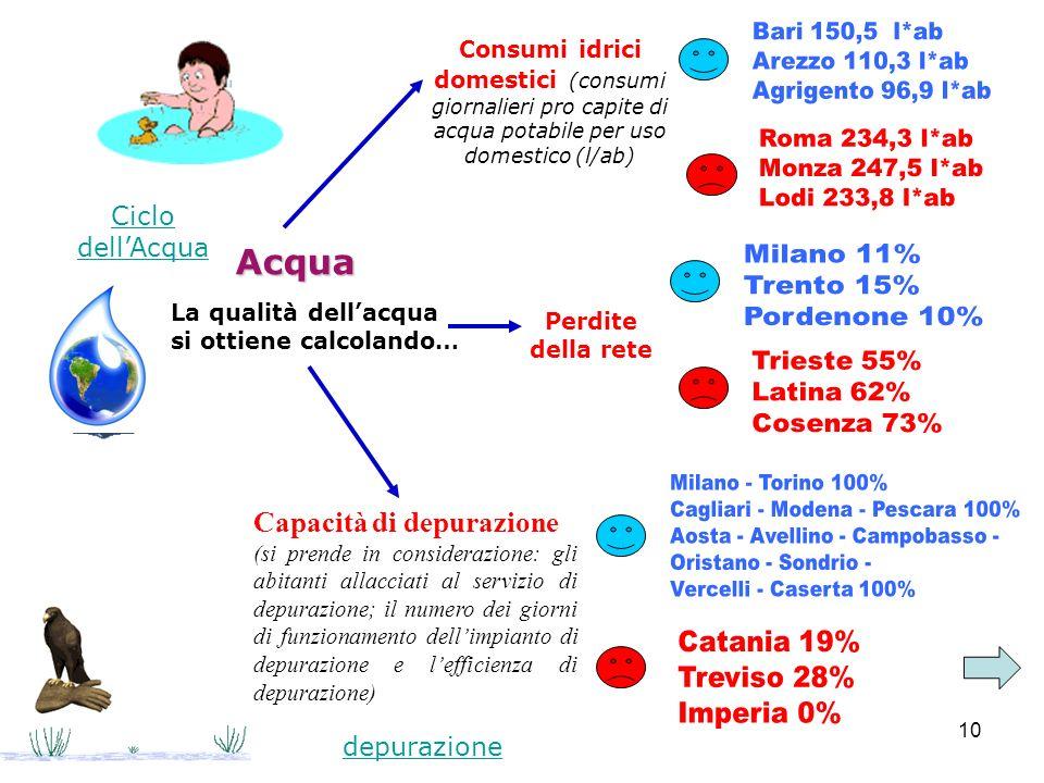 Acqua Capacità di depurazione Bari 150,5 l*ab Arezzo 110,3 l*ab