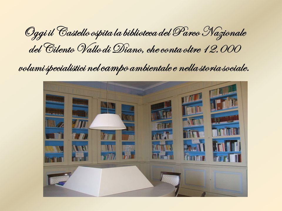 Oggi il Castello ospita la biblioteca del Parco Nazionale del Cilento Vallo di Diano, che conta oltre 12.000 volumi specialistici nel campo ambientale e nella storia sociale.