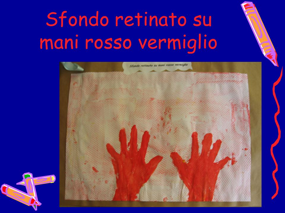 Sfondo retinato su mani rosso vermiglio