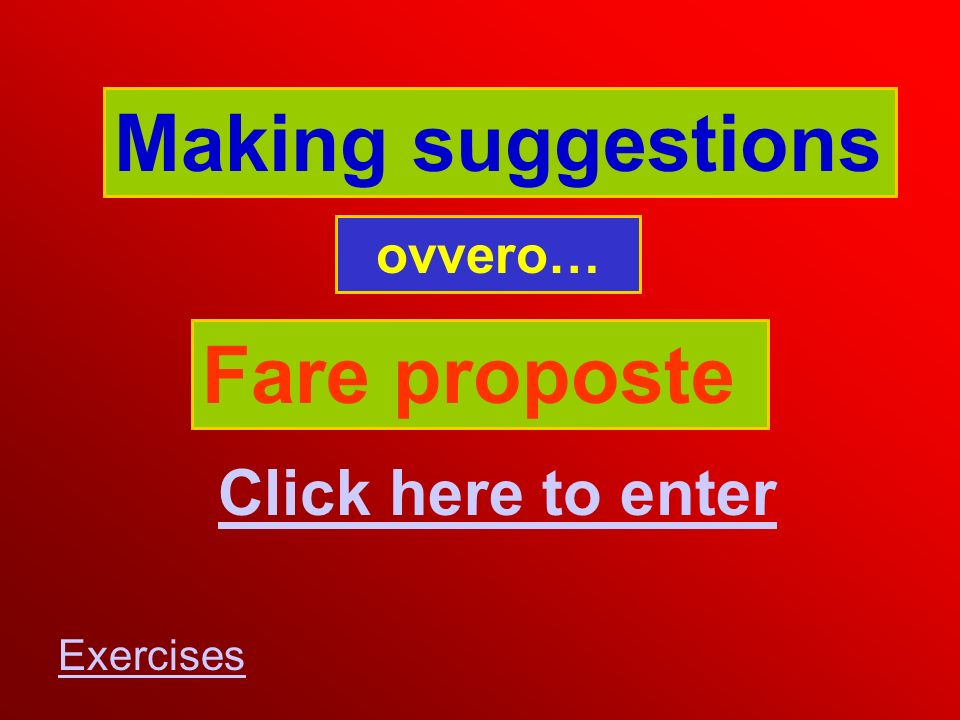 Making suggestions ovvero… Fare proposte Click here to enter Exercises