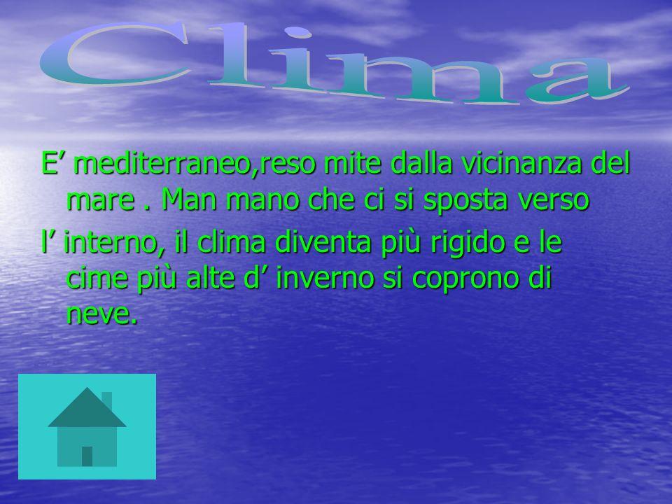 Clima E' mediterraneo,reso mite dalla vicinanza del mare . Man mano che ci si sposta verso.