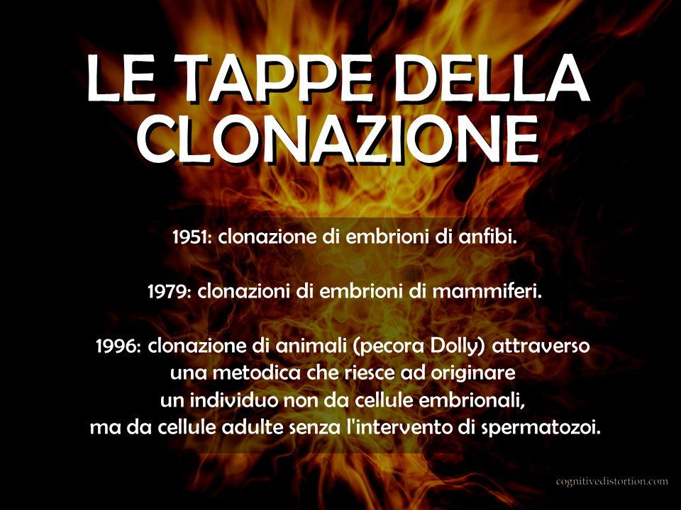 LE TAPPE DELLA CLONAZIONE 1951: clonazione di embrioni di anfibi.