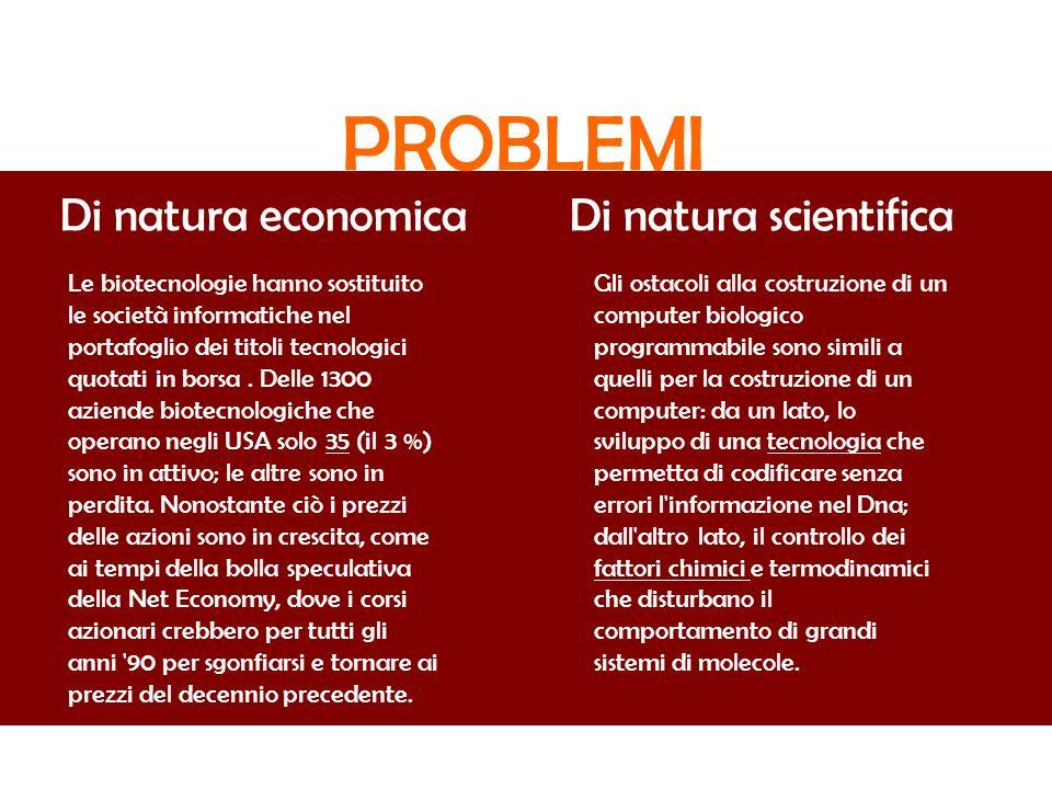 PROBLEMI Di natura economica Di natura scientifica