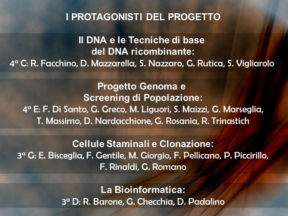 I PROTAGONISTI DEL PROGETTO Il DNA e le Tecniche di base