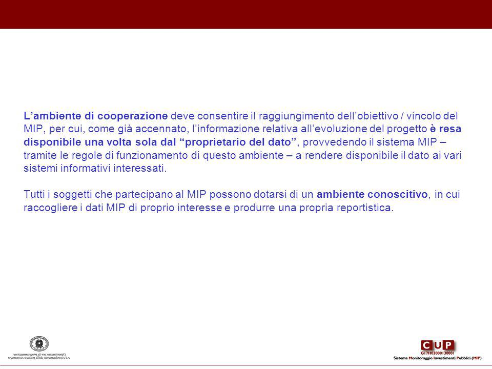 L'ambiente di cooperazione deve consentire il raggiungimento dell'obiettivo / vincolo del MIP, per cui, come già accennato, l'informazione relativa all'evoluzione del progetto è resa disponibile una volta sola dal proprietario del dato , provvedendo il sistema MIP – tramite le regole di funzionamento di questo ambiente – a rendere disponibile il dato ai vari sistemi informativi interessati.