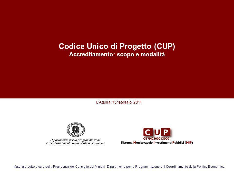 Codice Unico di Progetto (CUP) Accreditamento: scopo e modalità
