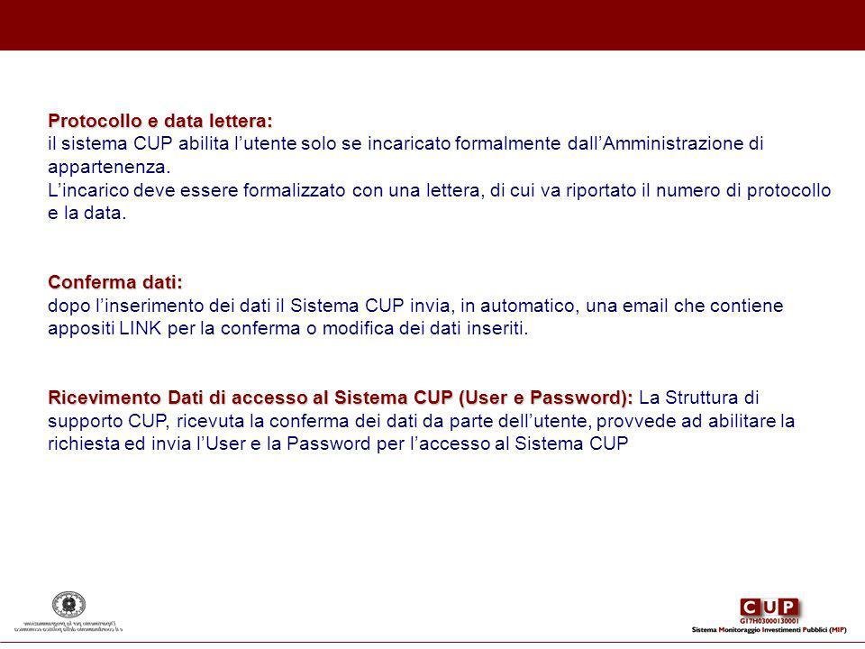 Protocollo e data lettera:
