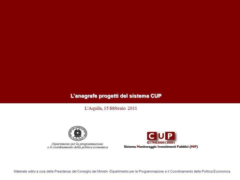 L'anagrafe progetti del sistema CUP