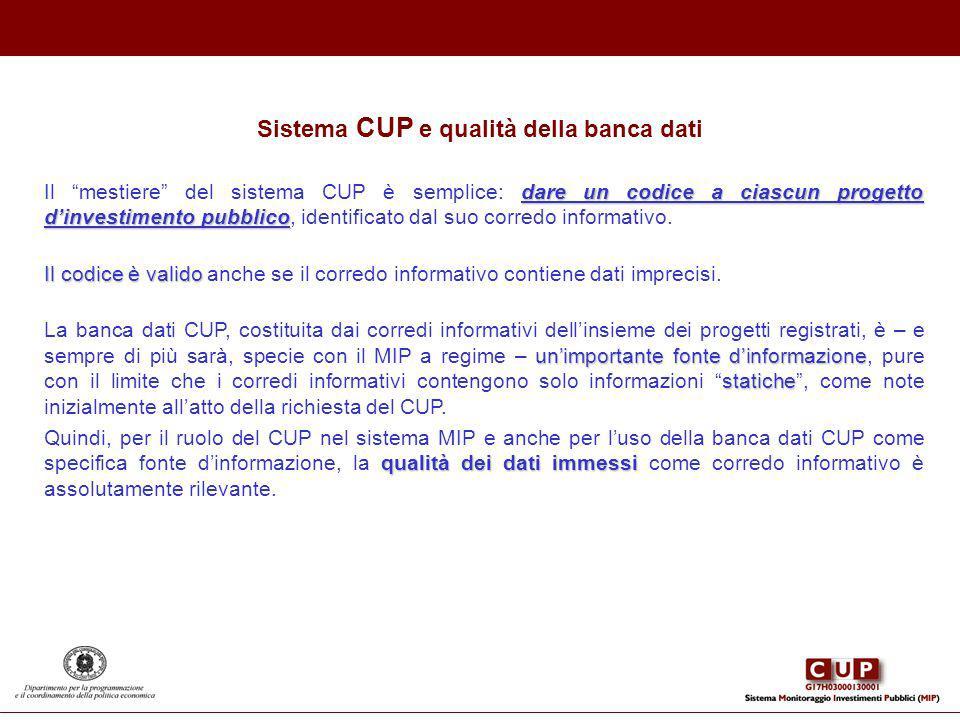 Sistema CUP e qualità della banca dati