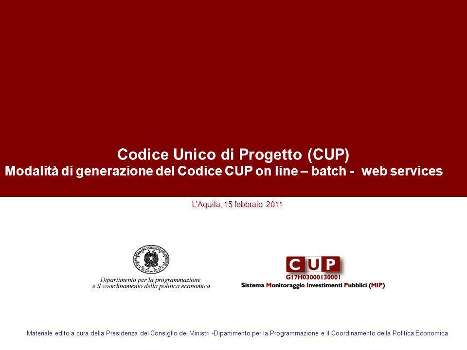 Codice Unico di Progetto (CUP)