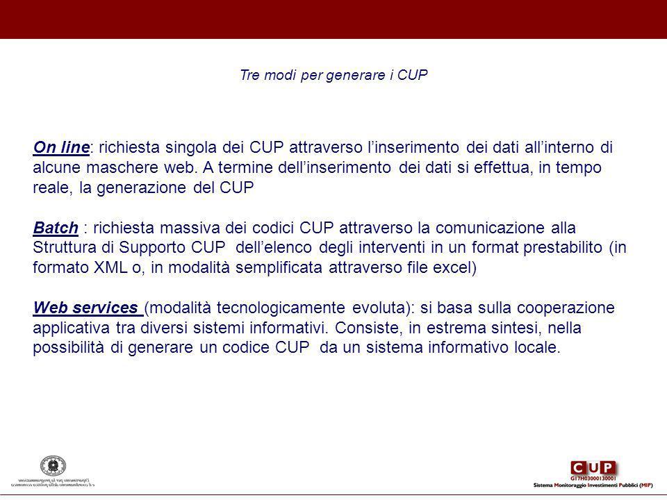 Tre modi per generare i CUP