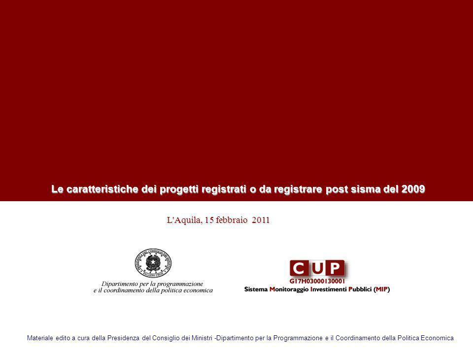 Le caratteristiche dei progetti registrati o da registrare post sisma del 2009