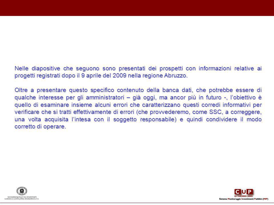 Nelle diapositive che seguono sono presentati dei prospetti con informazioni relative ai progetti registrati dopo il 9 aprile del 2009 nella regione Abruzzo.