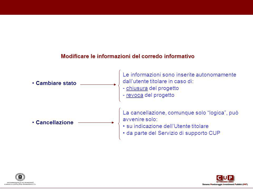 Modificare le informazioni del corredo informativo