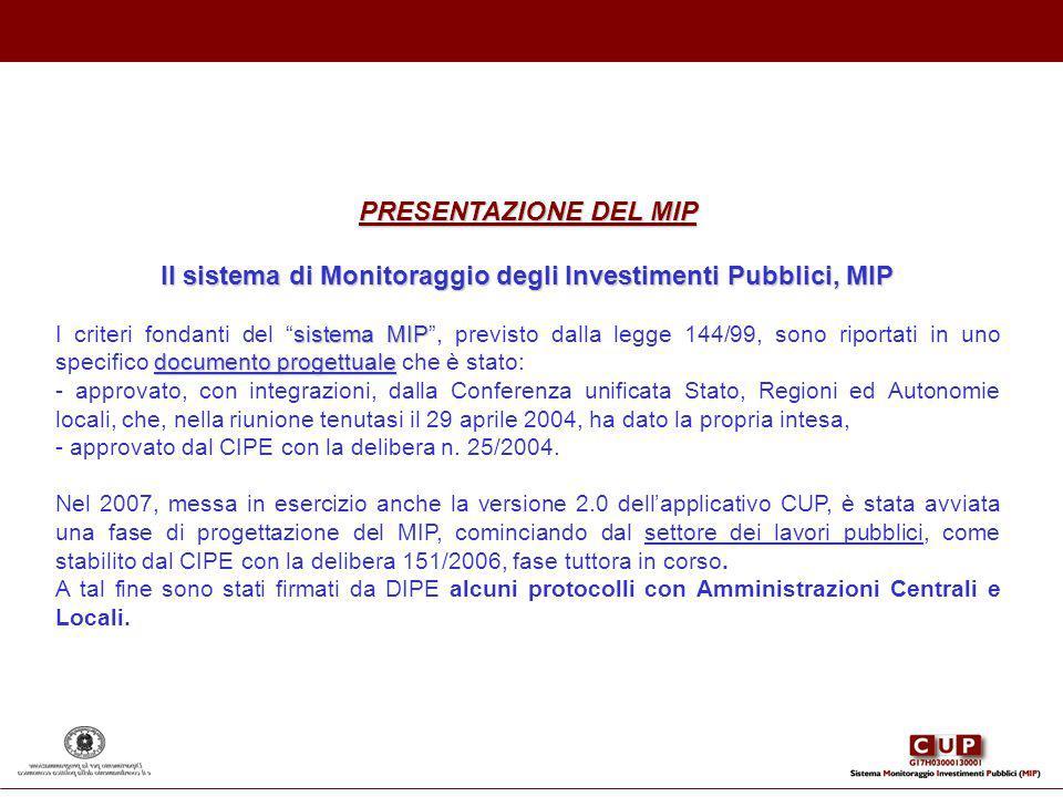 Il sistema di Monitoraggio degli Investimenti Pubblici, MIP
