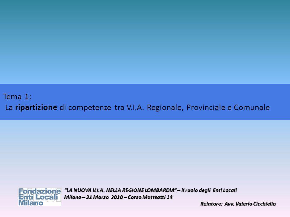 Tema 1: La ripartizione di competenze tra V.I.A. Regionale, Provinciale e Comunale.
