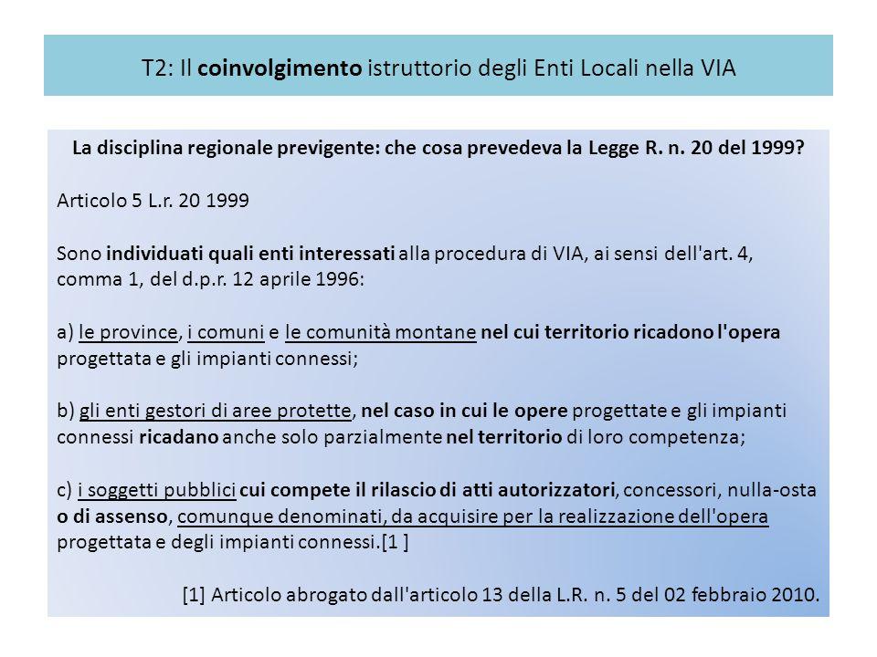 T2: Il coinvolgimento istruttorio degli Enti Locali nella VIA