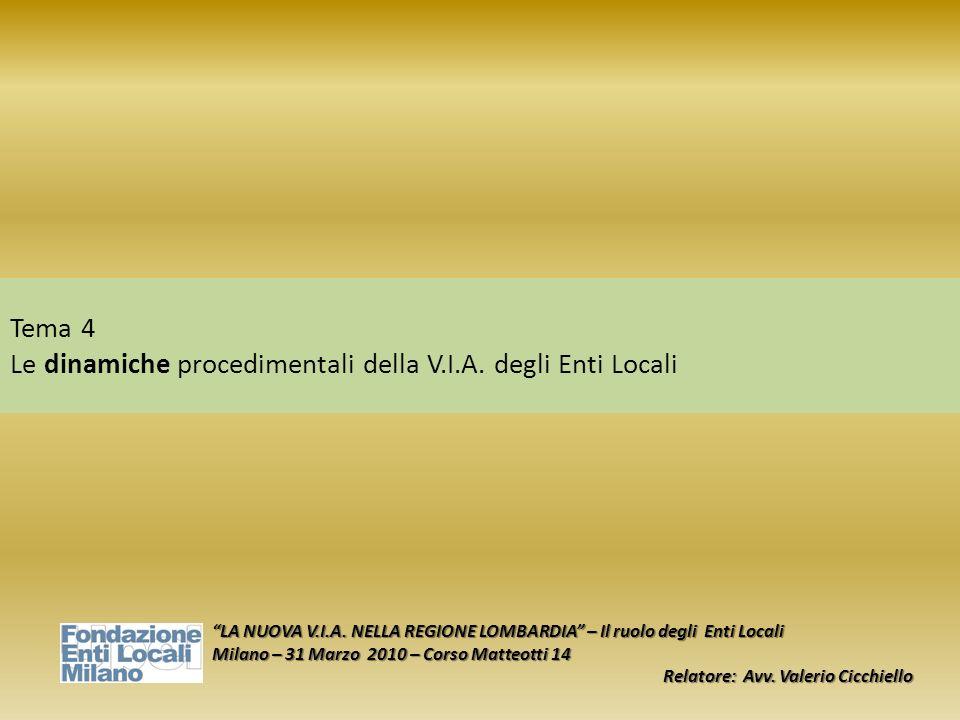 Tema 4 Le dinamiche procedimentali della V.I.A. degli Enti Locali