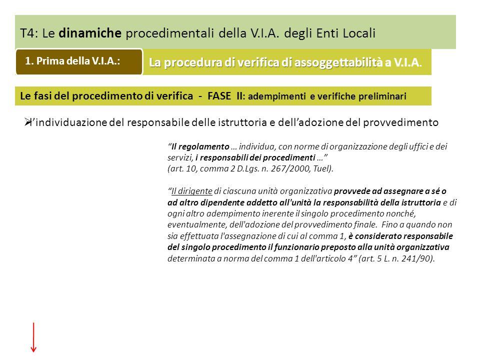 T4: Le dinamiche procedimentali della V.I.A. degli Enti Locali
