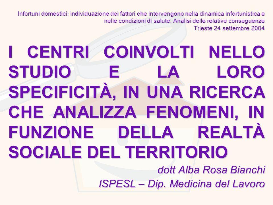 Infortuni domestici: individuazione dei fattori che intervengono nella dinamica infortunistica e nelle condizioni di salute. Analisi delle relative conseguenze Trieste 24 settembre 2004